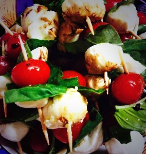 Tomato, Basil, and Cheese Skewers are beyond easy to make.