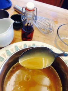 Once the caramel is thickened, put in the fridge to thicken more.