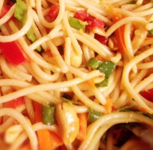 Pasta like Spaghetti can be used instead of the Noodles in most recipes.