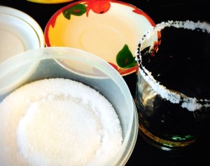 Keep Kosher Salt in plastic container. Dip rim in saucer of tequila, then container. Done!