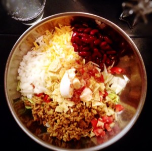 Easy Taco Salad Recipe. Throw all in a bowl. Done!